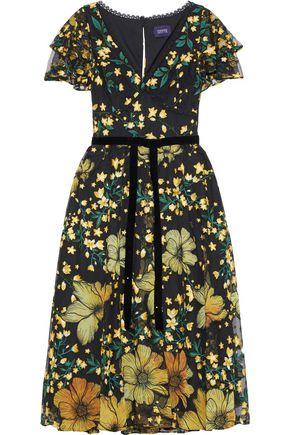 MARCHESA NOTTE Velvet-trimmed floral-appliquéd embroidered tulle dress