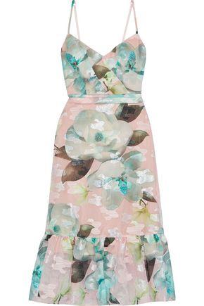 MARCHESA NOTTE Ruffle-trimmed floral-print fil coupé organza midi dress