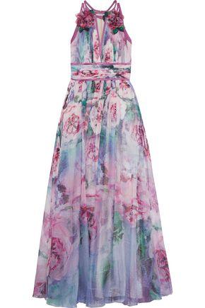MARCHESA NOTTE Satin-trimmed appliquéd floral-print chiffon gown