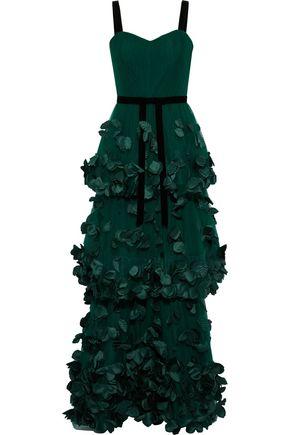 MARCHESA NOTTE Velvet-trimmed floral-appliquéd tulle gown