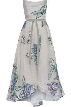 MARCHESA NOTTE Strapless velvet-trimmed embroidered silk-organza gown