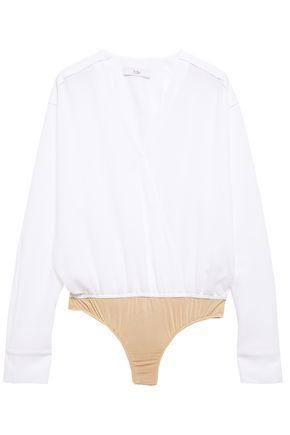 TIBI Wrap-effect crepe bodysuit