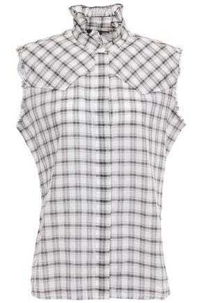 NILI LOTAN Feora frayed ruffle-trimmed checked cotton-mousseline blouse