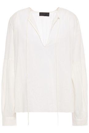 NILI LOTAN Anla gathered cotton-mousseline blouse
