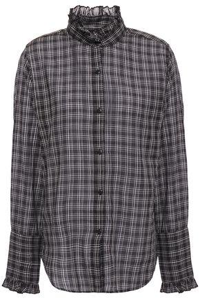 NILI LOTAN Vivian ruffle-trimmed checked cotton-mousseline blouse