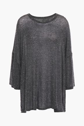 IRO Wuther oversized mélange jersey draped T-shirt