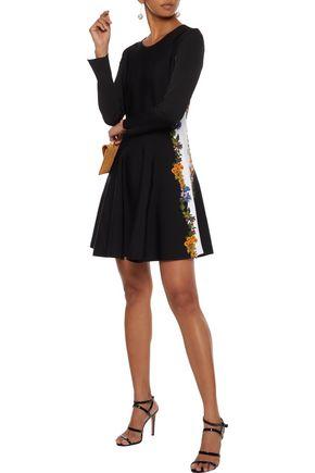 OSCAR DE LA RENTA Flared embroidered stretch-knit mini dress