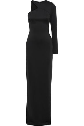 BLACK HALO EVE by LAUREL BERMAN Opal one-shoulder stretch-cady gown