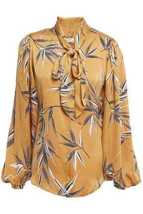 EQUIPMENT Cleone tie-neck printed washed-satin blouse