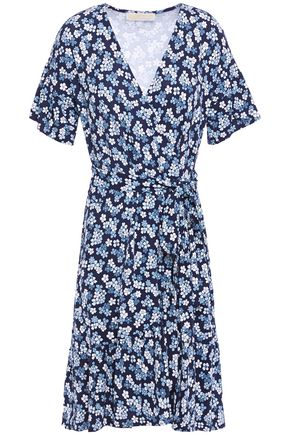 MICHAEL MICHAEL KORS Floral-print stretch-jersey mini wrap dress