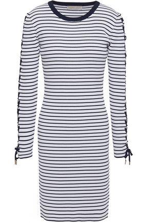 MICHAEL MICHAEL KORS Lace-up striped ribbed-knit mini dress