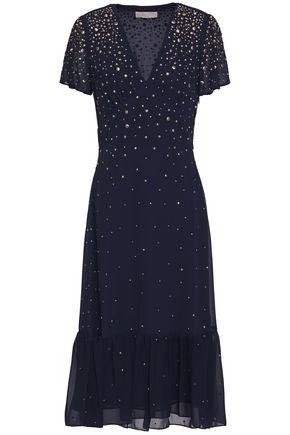 MICHAEL MICHAEL KORS Embellished gathered chiffon midi dress