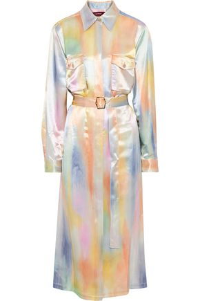 SIES MARJAN Imogene belted printed satin midi shirt dress