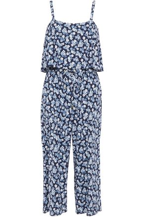 MICHAEL MICHAEL KORS Cropped layered printed stretch-jersey jumpsuit