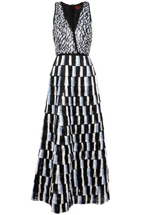MISSONI فستان سهرة من الجاكار بنمط المربعات الصغيرة