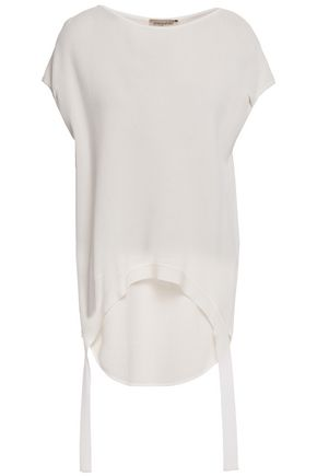 GENTRYPORTOFINO Asymmetric draped metallic textured knitted top
