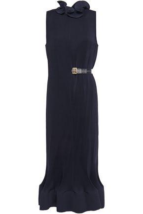 TIBI فستان متوسط الطول من الكريبون بتجعيدات رفيعة مزوّد بحزام