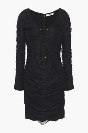 ROBERTO CAVALLI فستان قصير من الدانتيل مع ثنيات وأربطة