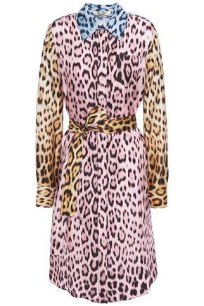 ROBERTO CAVALLI Belted leopard-print silk-twill shirt dress