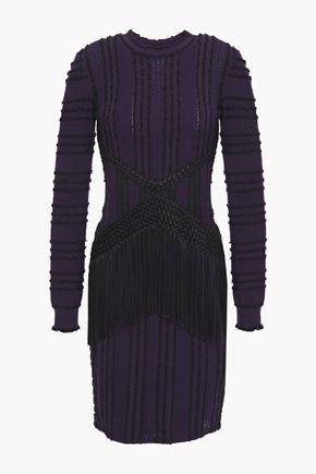 ROBERTO CAVALLI فستان قصير محبوك بغرز واسعة ومجعد بطريقة بوكليه مع تصميمات مخيطة