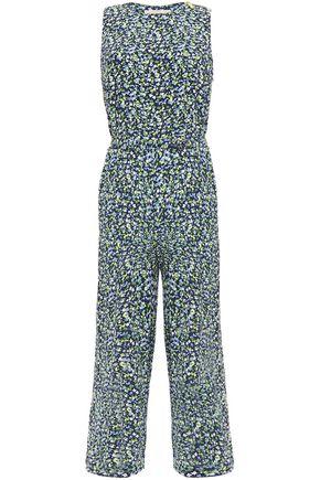 MICHAEL MICHAEL KORS Cropped belted floral-print crepe jumpsuit