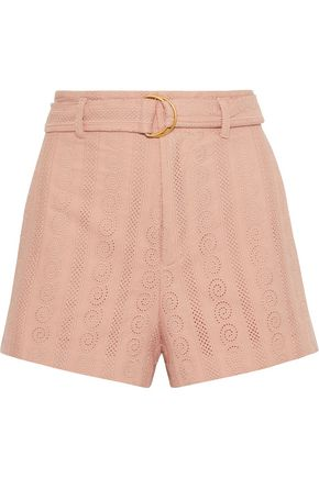 A.L.C. Conley belted broderie anglaise cotton shorts
