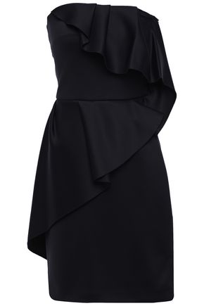 LANVIN Strapless ruffled scuba mini dress
