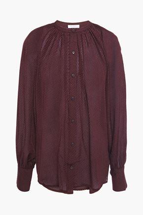 EQUIPMENT Corbette gathered fil coupé silk-blend chiffon shirt