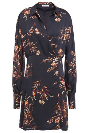 EQUIPMENT Harmon wrap-effect floral-print washed-satin mini dress
