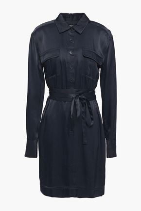 EQUIPMENT Axelle belted satin-twill mini shirt dress