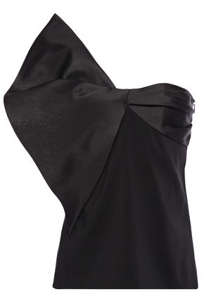 LANVIN Strapless organza-paneled bow-detailed twill top