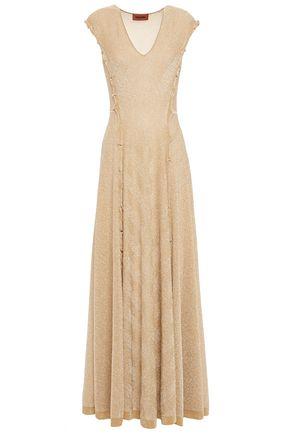 MISSONI Ruffle-trimmed metallic knitted maxi dress