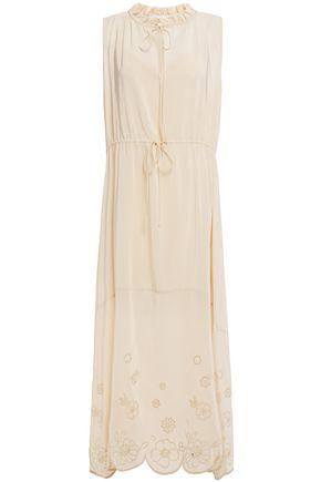 SEE BY CHLOÉ فستان متوسط الطول بتصميم ملموم من قماش كريب دي شين مزين بتطريز إنجليزي