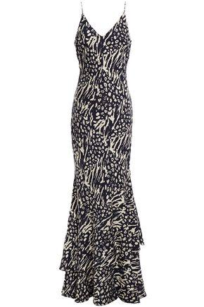REBECCA VALLANCE Lola tiered printed crepe maxi slip dress