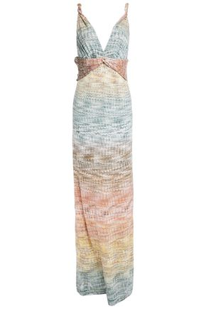 MISSONI فستان طويل بتصميم متشابك من الأمام محاك بالكروشيه لون ميتاليك