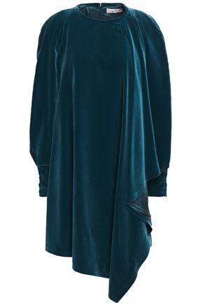 CARVEN Draped velvet mini dress