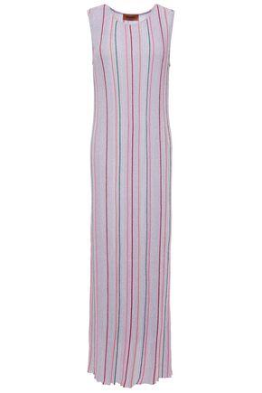 MISSONI Metallic striped ribbed crochet-knit maxi dress