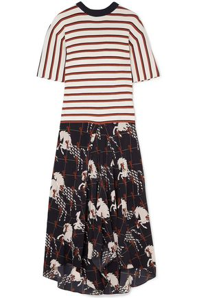 CHLOÉ Striped ribbed-knit and printed silk crepe de chine midi dress