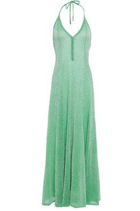MISSONI فستان طويل بحمالة عنق محاك بالكروشيه لون ميتاليك