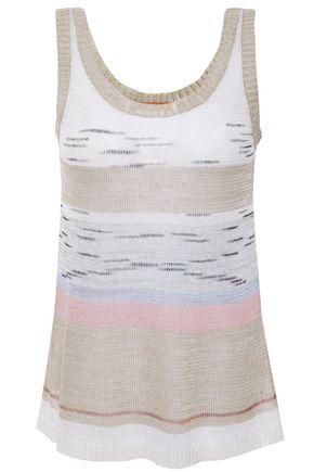 MISSONI Striped linen-blend crochet-knit tank