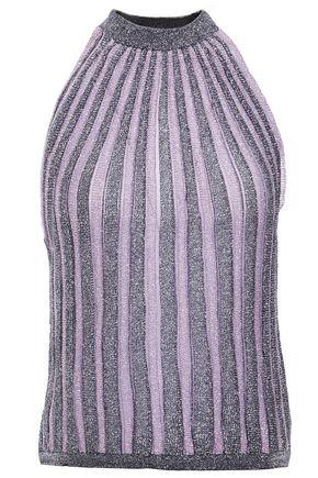 MISSONI Metallic striped crochet-knit tank