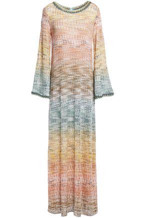 MISSONI فستان طويل محاك بالكروشيه لون ميتاليك