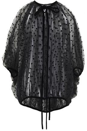 OSCAR DE LA RENTA Oversized bow-detailed gathered flocked tulle blouse