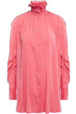 CARVEN Ruched shirred washed stretch-silk shirt