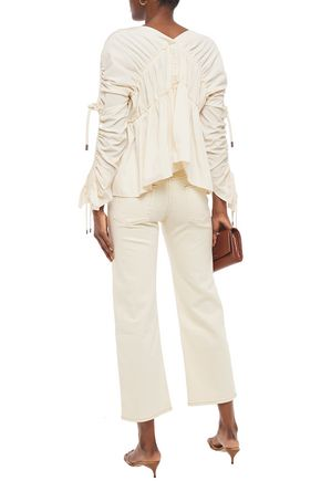 CARVEN Ruched taffeta blouse