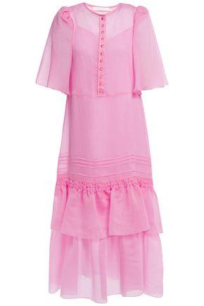 SEE BY CHLOÉ فستان متوسط الطول من الشيفون مع كسرات وكشكش