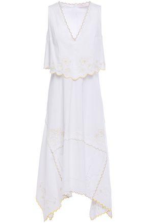 SEE BY CHLOÉ فستان متوسط الطول بطبقات من قماش البوبلين القطني المطرز