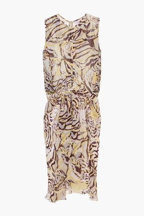 SEE BY CHLOÉ Ruched printed silk-voile dress