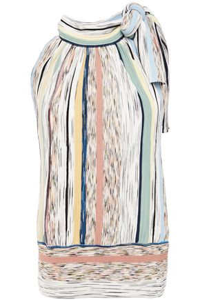 MISSONI Pussy-bow pleated marled striped knitted top