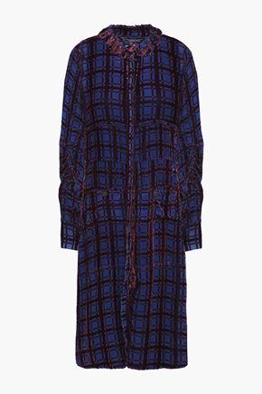 CARVEN Gathered devoré-velvet shirt dress